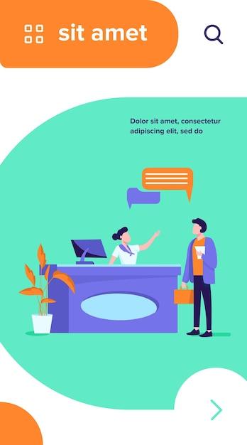 Receptioniste baan vectorillustratie. klanten raadplegen manager bij de receptie Gratis Vector