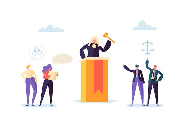 Recht en rechtvaardigheid concept met karakters en rechterlijke elementen, wetboek, advocaat. oordeel met hamer in rechtszaal en rechtbankjurymensen. Premium Vector