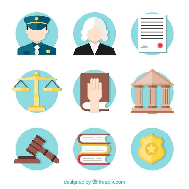 Recht en rechtvaardigheid elementencollectie met platte ontwerp Gratis Vector