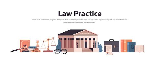 Recht en rechtvaardigheid instellen hamer rechter boeken schalen gerechtsgebouw iconen collectie horizontale kopie ruimte vectorillustratie Premium Vector