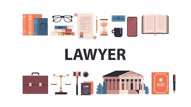 Recht en rechtvaardigheid instellen hamer rechter boeken schalen gerechtsgebouw iconen collectie horizontale vector illustratie Premium Vector