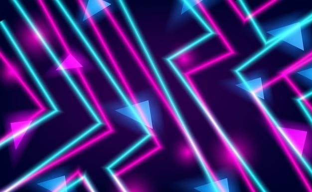 Rechte lijn cyaan en roze neon gloed kleur voor nachtleven en technische achtergrond Premium Vector