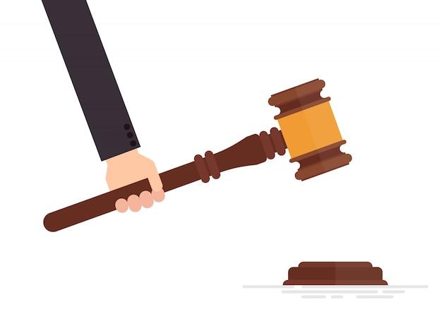 Rechter hamer in hand illustratie geïsoleerd op een witte achtergrond Premium Vector