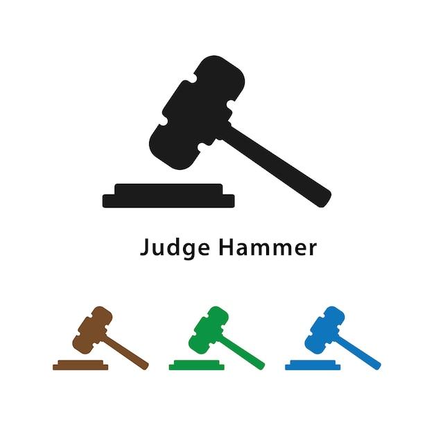 Rechter hamerpictogram met verschillende kleurenreeks. Premium Vector