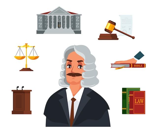 Rechter karakter en scheidsrechter accessoires set, wetboek, bijbelseed, zandloper, gerechtsgebouw, tribune, gerechtelijke voorzittershamer, gouden weegschaal. Premium Vector