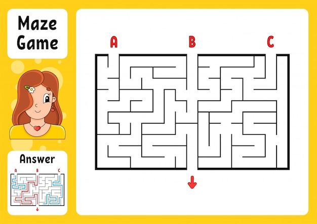 Rechthoek doolhof. spel voor kinderen. drie ingangen, één uitgang. puzzel voor kinderen. Premium Vector