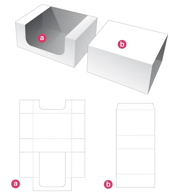 Rechthoekig dienblad en omslag gestanst sjabloon Premium Vector