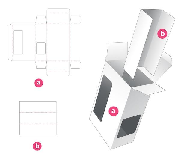 Rechthoekige doos met 2 vensters en gestanste sjabloon Premium Vector