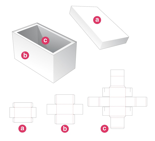 Rechthoekige doos met deksel en supporter gestanst sjabloon Premium Vector