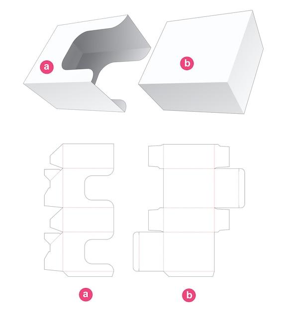 Rechthoekige doos met gestanste sjabloon in u-vorm Premium Vector