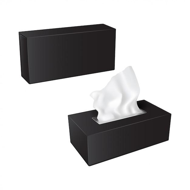 Rechthoekige doos met papieren servetten. realistische verpakkingsset Premium Vector