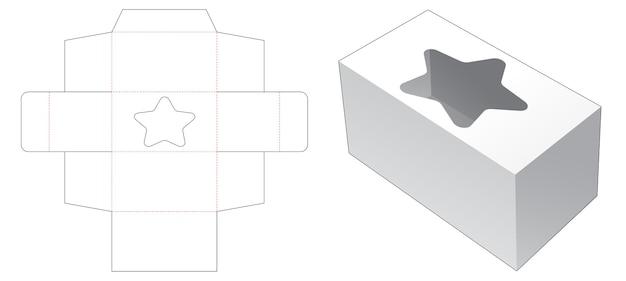 Rechthoekige doos met stervormig venster gestanst sjabloon Premium Vector