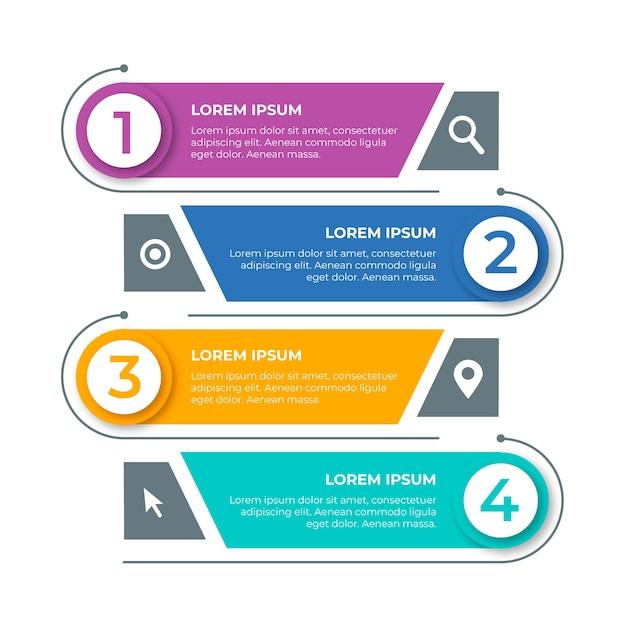 Rechts en links richting voor stappen infographic Gratis Vector
