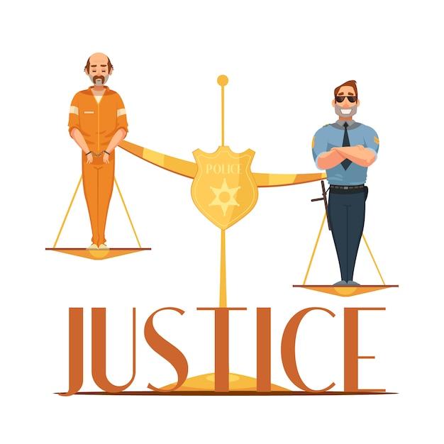 Rechtsgebieden en schaal van rechtvaardigheid symbolische samenstelling met veroordeelde en politieagent Gratis Vector