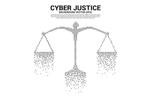 Rechtvaardigheidsschaal van digitale stijl met vierkante pixels. concept van cyber sociaal oordeel Premium Vector