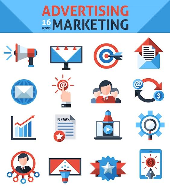 Reclame marketing pictogrammen Gratis Vector