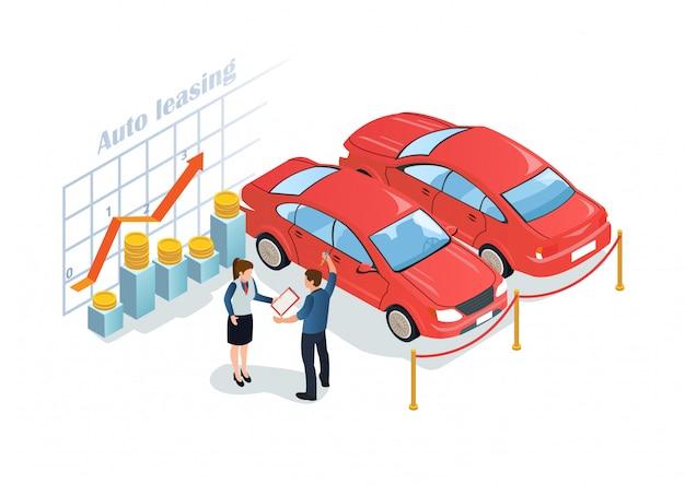 Reclame poster is geschreven auto leasing flat. Premium Vector