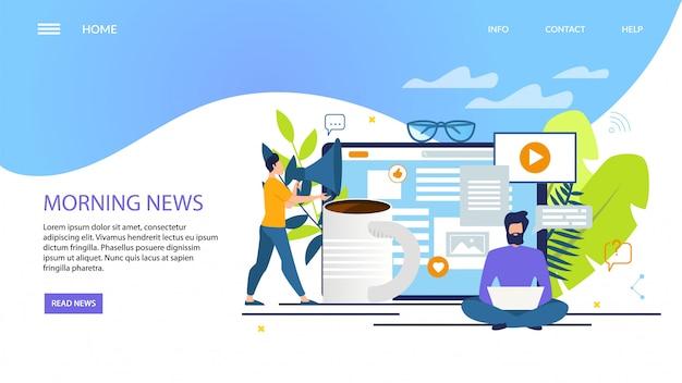 Reclamebanner van morning news Premium Vector
