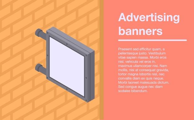 Reclamemuur banners banner, isometrische stijl Premium Vector