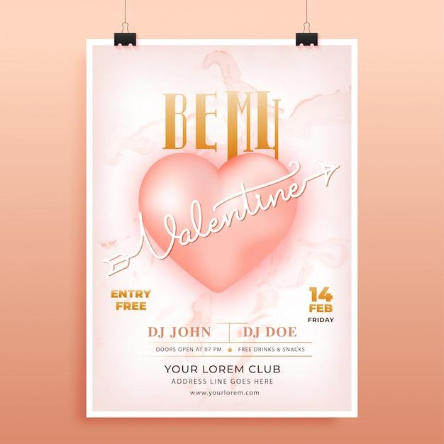 Reclameposter of flyerontwerp met be my valentine-tekst en glanzend hart Premium Vector