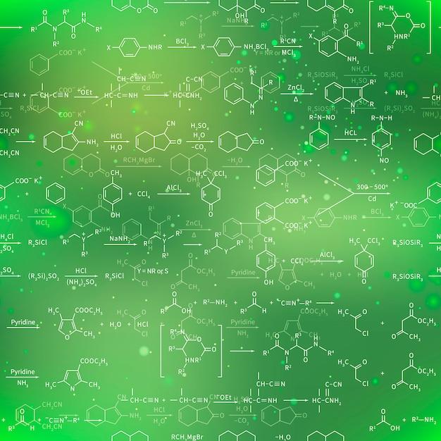Recondite chemische vergelijkingen en formules op vage groene achtergrond, naadloos patroon Premium Vector