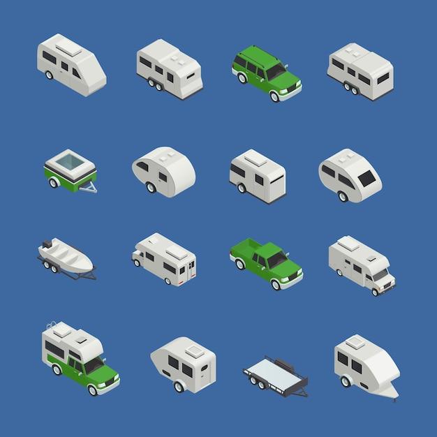 Recreatieve voertuigen isometrisch icons set Gratis Vector