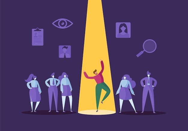 Recruitment bedrijfsconcept met platte karakters. werkgever kiest één man uit een groep mensen. aanwerving, personeelszaken, sollicitatiegesprek. Premium Vector