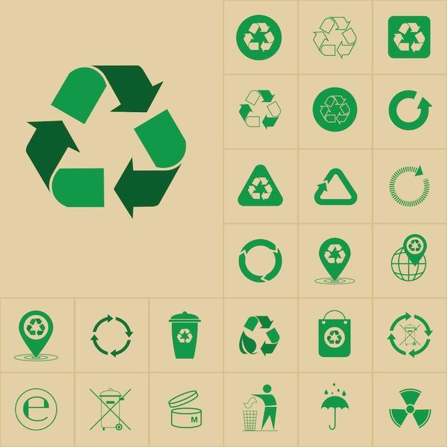 Recycle afval symbool groene pijlen logo set web icoon collectie Premium Vector