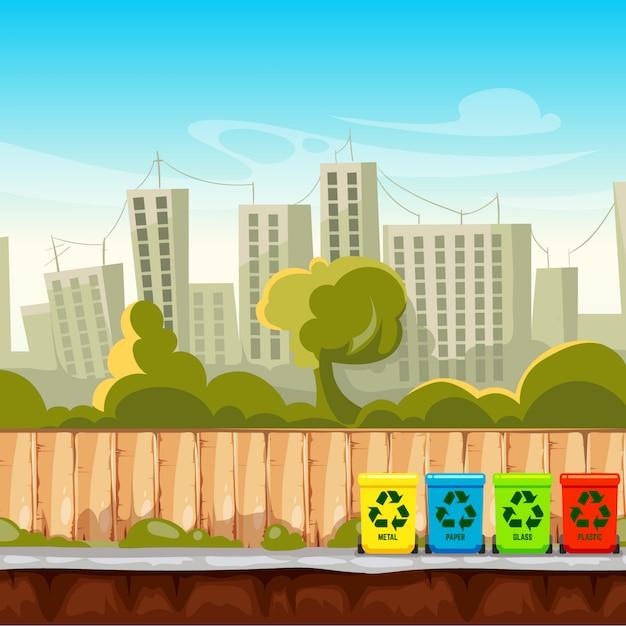 Recycle afvalbakken met cityscape achtergrond. afvalbeheer concept. recycle afvalbak, scheidings- en sorteercontainer. Premium Vector