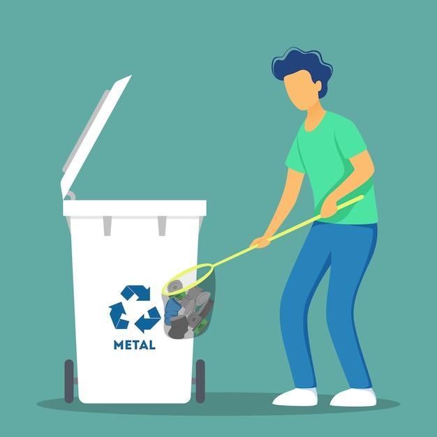 Recycle concept. ecologie en zorg voor het milieu. idee van hergebruik van afval. Premium Vector