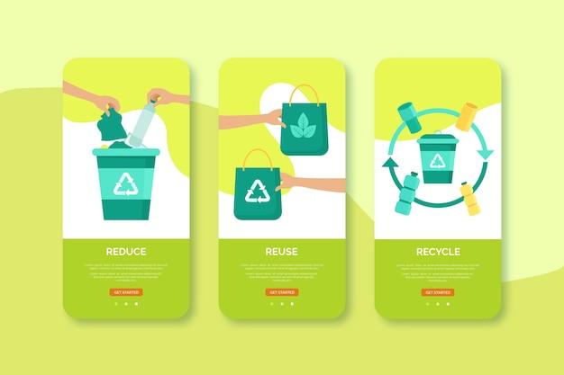 Recycle en hergebruik het ontwerp van de mobiele interface Gratis Vector