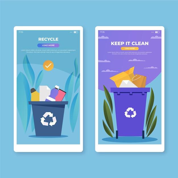 Recycle en houd het schone schermen van mobiele apps Gratis Vector
