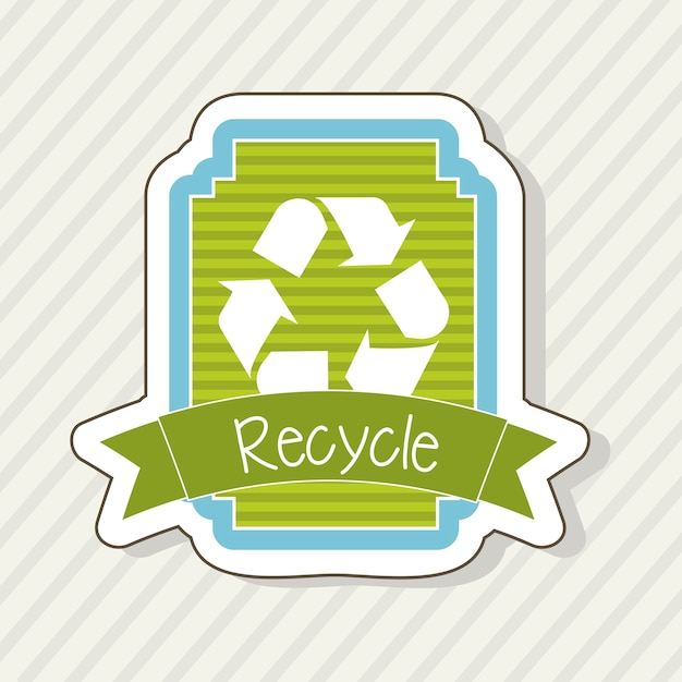 Recycle label over beige achtergrond vectorillustratie Premium Vector