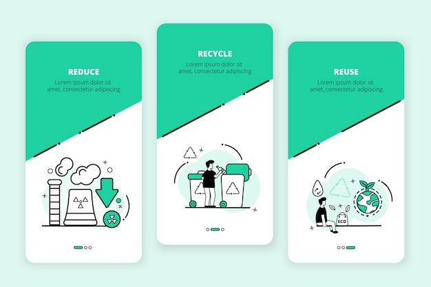 Recycle onboarding app schermen ingesteld Gratis Vector