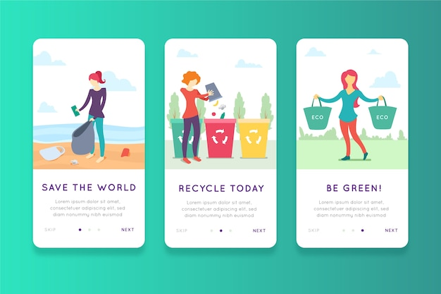 Recycle onboarding app-schermen Gratis Vector