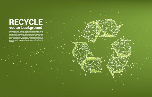 Recycle pictogram van dot connect lijn polygoon netwerksjabloon Premium Vector