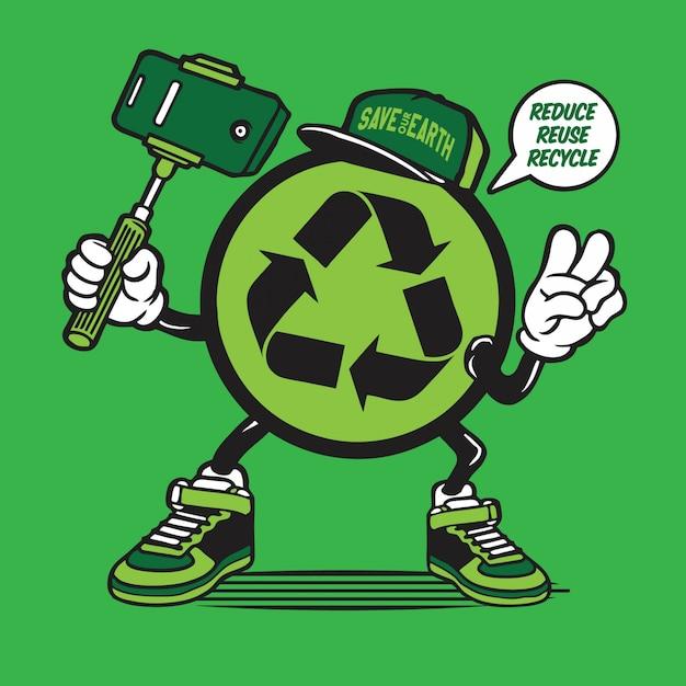 Recycle symbool logo selfie karakter Premium Vector