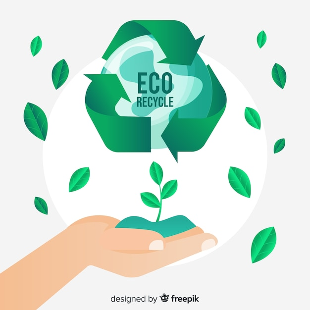 Recycle teken en groene bladeren Gratis Vector