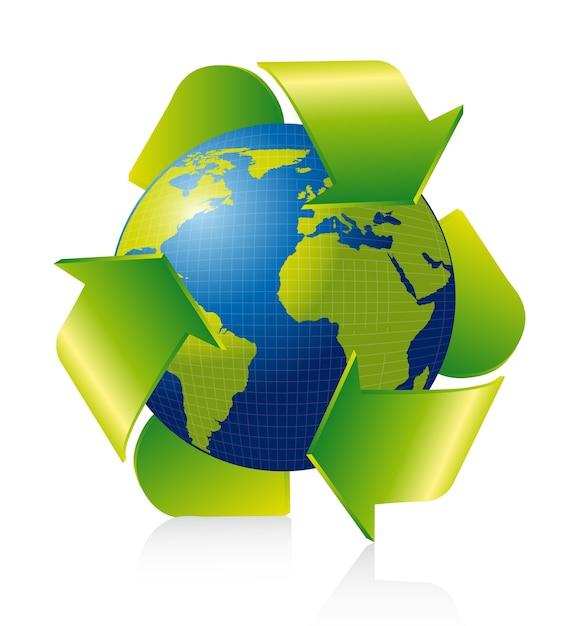 Recycleer teken met planeet over witte vector als achtergrond Premium Vector