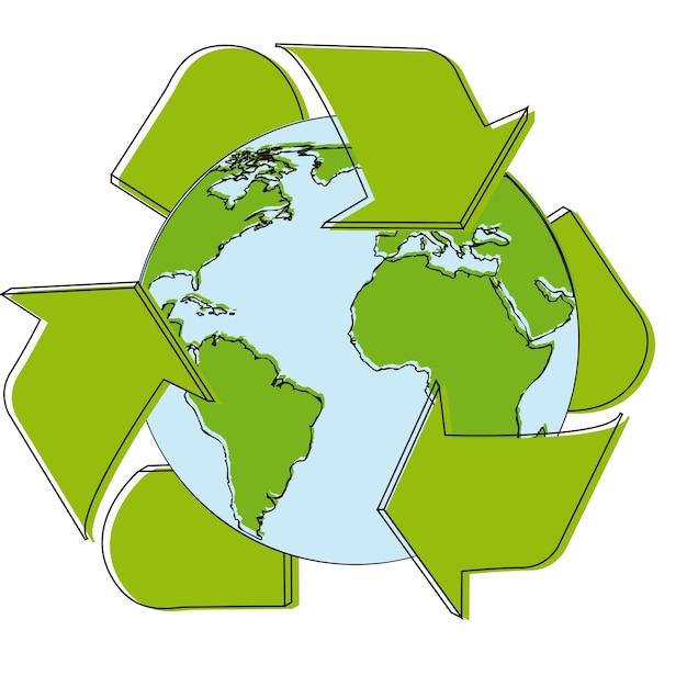 Recycleer tekenbeeldverhaal over witte vectorillustratie als achtergrond Premium Vector