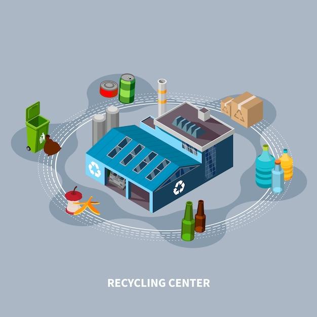 Recycling center isometrische samenstelling Gratis Vector
