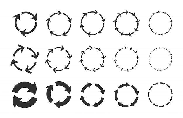 Recycling cirkelvormige pijlen set Gratis Vector