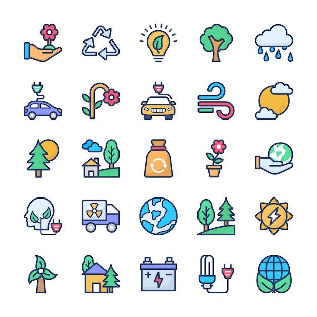 Recycling en ecologie icons set Premium Vector
