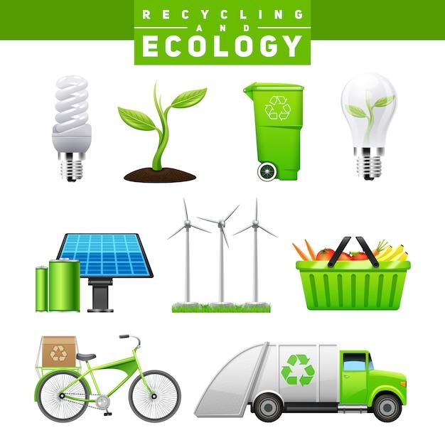 Recycling en ecologie pictogrammen Gratis Vector
