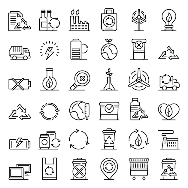 Recycling iconen set, kaderstijl Premium Vector