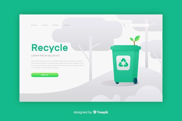 Recycling vuilnis bestemmingspagina sjabloon Gratis Vector