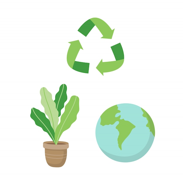 Recyclingsteken, een plant en een aarde. ecologische conceptillustratie die in beeldverhaalstijl wordt geplaatst Premium Vector