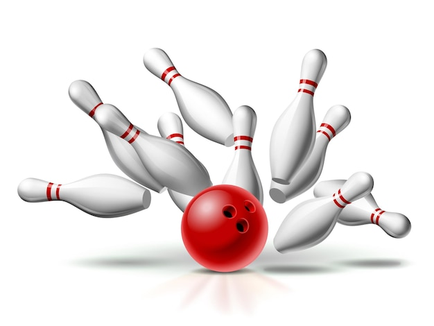 Red bowling ball crasht in de pinnen Premium Vector