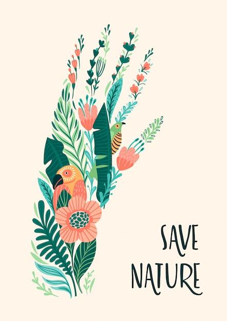 Red de natuur. vector illustratie Premium Vector