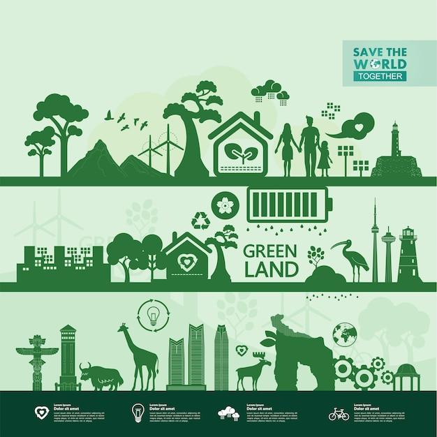 Red de wereld samen groene ecologie illustratie. Premium Vector